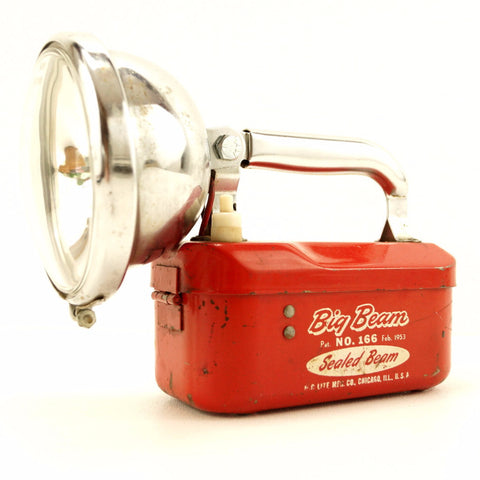 Vintage Big Beam No.166 Flashlight / Lantern in Red and Chrome (c.1950s) - ThirdShiftVintage.com