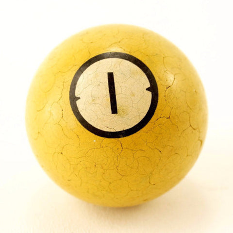 Vintage / Antique Clay Billiard Yellow Number 1, Art Deco Pool Ball (c.1910s) - ThirdShiftVintage.com