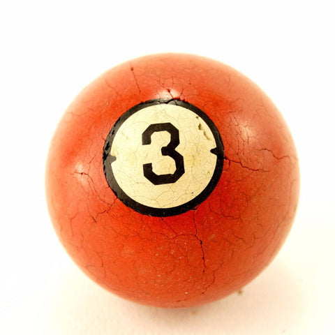 Vintage / Antique Clay Billiard Ball Red Number 3, Art Deco Pool Ball (c.1910s) - ThirdShiftVintage.com