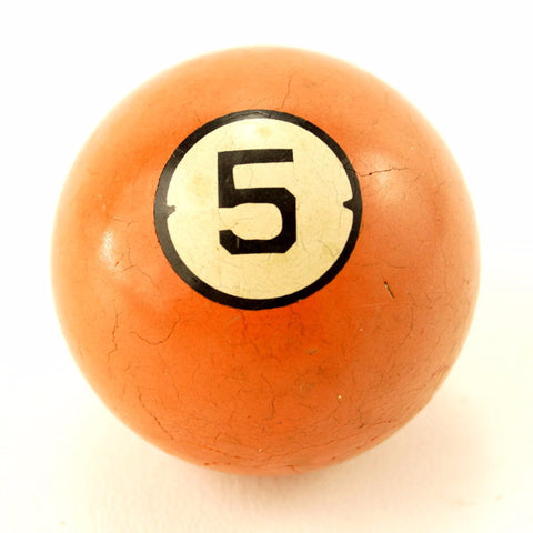 Vintage / Antique Clay Billiard Ball Orange Number 5, Art Deco Pool Ball (c.1910s) - thirdshift