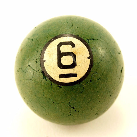 Vintage / Antique Clay Billiard Ball Green Number 6, Art Deco Pool Ball (c.1910s) - ThirdShift Vintage