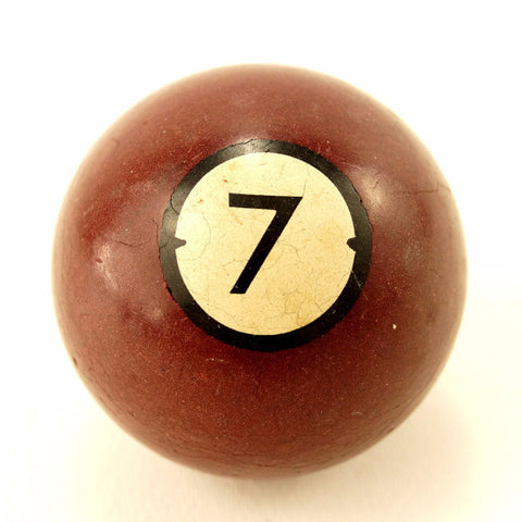 Vintage / Antique Clay Billiard Ball Burgundy Number 7, Art Deco Pool Ball (c.1910s) - ThirdShiftVintage.com