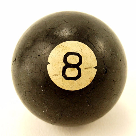 Vintage / Antique Clay Billiard Ball Black Number 8, Art Deco Pool Ball (c.1910s) - ThirdShift Vintage