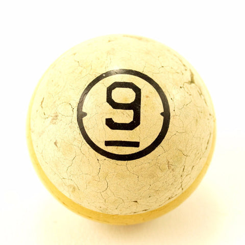 Vintage / Antique Clay Billiard Ball Yellow Number 9, Art Deco Pool Ball (c.1910s) - ThirdShift Vintage
