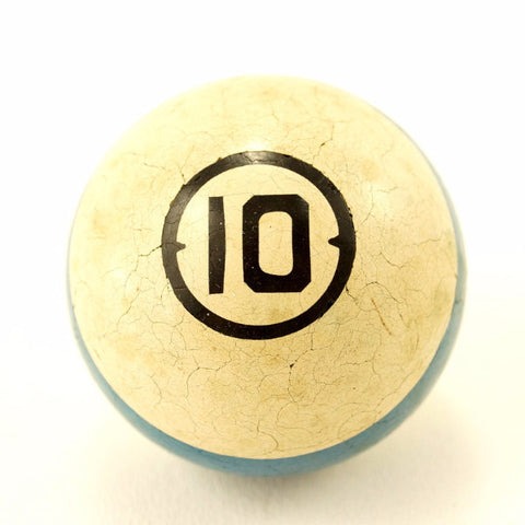 Vintage / Antique Clay Billiard Ball Blue Number 10, Art Deco Pool Ball (c.1910s) - ThirdShiftVintage.com
