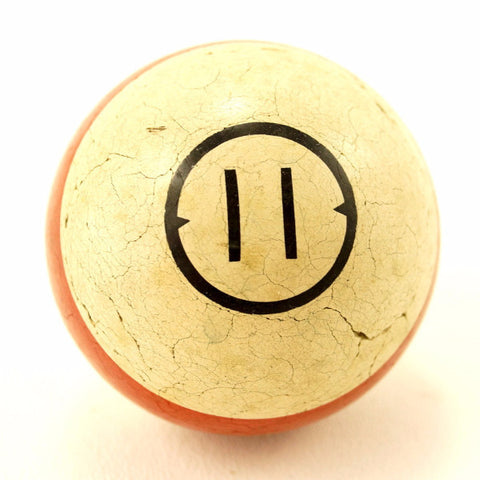 Vintage / Antique Clay Billiard Ball Red Number 11, Art Deco Pool Ball (c.1910s) - ThirdShiftVintage.com