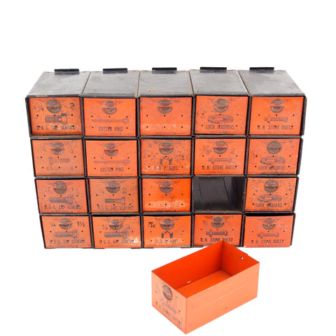 Vintage Dorman Parts Drawer Hardware Bin with 20 Drawers in Rustic Orange (c.1950s) N3 - ThirdShiftVintage.com