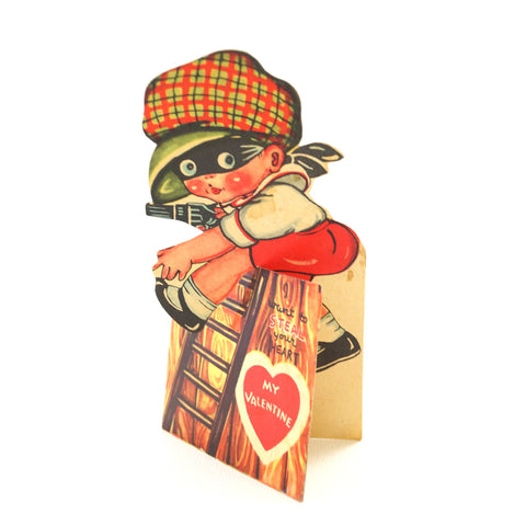 Vintage Valentine's Day Card with Die Cut Fold-Out Burglar and Ladder (c.1940s) - thirdshift