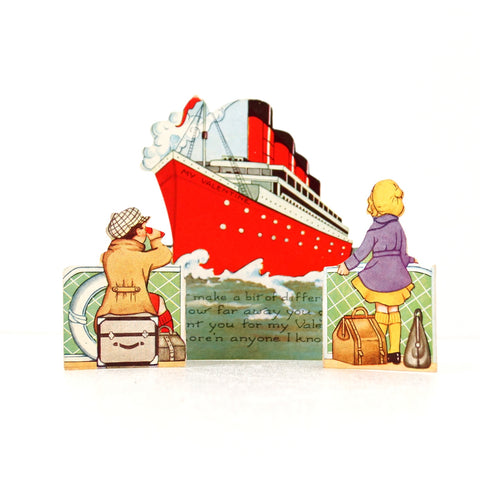 Vintage Valentine's Day Card with Die Cut Fold-Out Ship and Travelers (c.1940s) - ThirdShiftVintage.com