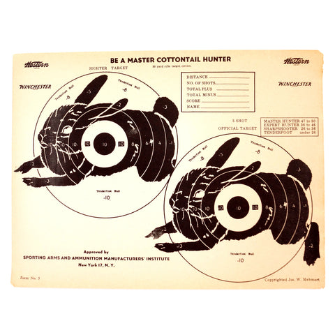Vintage Winchester Cottontail Rabbit Shooting Target, 12 x 9 inches (c.1950s) - thirdshift