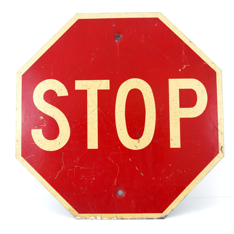 "Vintage Metal ""STOP"" Sign in Red and White (c.1960s)"