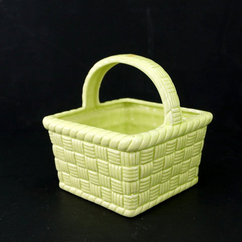 Vintage Basket Planter in Light Green Ceramic (c.1983) - ThirdShiftVintage.com