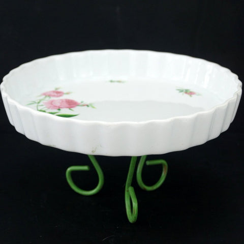 Vintage Fluted Quiche Dish with Pink Roses and Tripod Base by Christineholm (c.1980s) - thirdshift