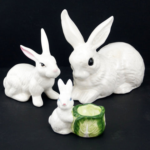 Vintage Rabbit Figures in White Ceramic, Set of 3 (c.1980s)