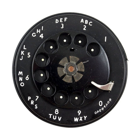Vintage Rotary Telephone Dial in Black with Black Metal Finger Dial (c.1950s) N3