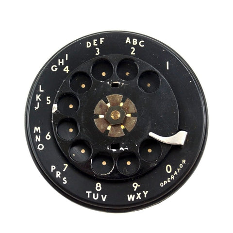 Vintage Rotary Telephone Dial in Black with Black Metal Finger Dial (c.1950s) N4
