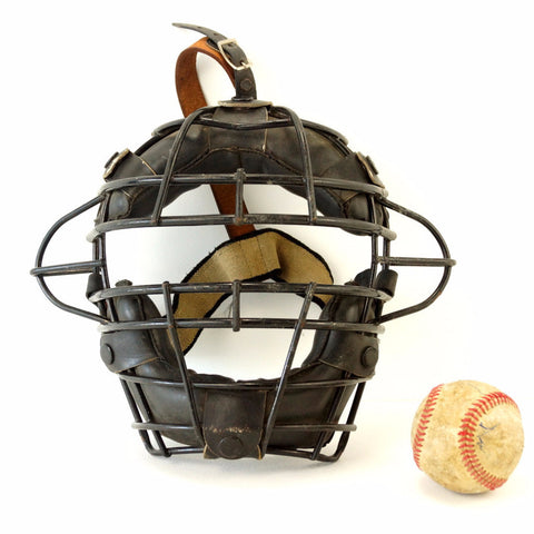 Vintage Baseball Catchers Face Mask with Metal Grid, Leather Straps (c.1970s) - thirdshift