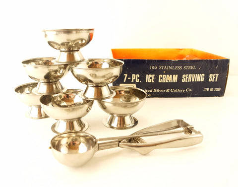 Vintage Ice Cream Serving Set in Stainless Steel Set of 7 (c.1970s) - ThirdShiftVintage.com