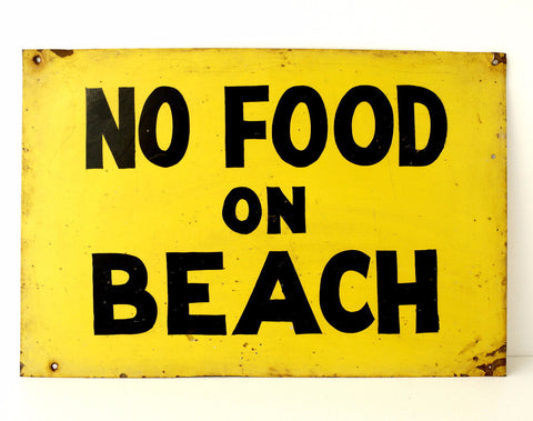 "Vintage ""No Food On Beach"" Metal Sign (c .1960s) - ThirdShift Vintage"