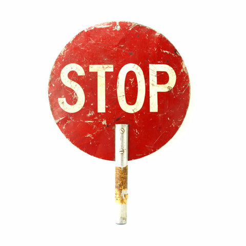"Vintage ""STOP / SLOW"" Metal Traffic Sign (c .1960s) - ThirdShiftVintage.com"