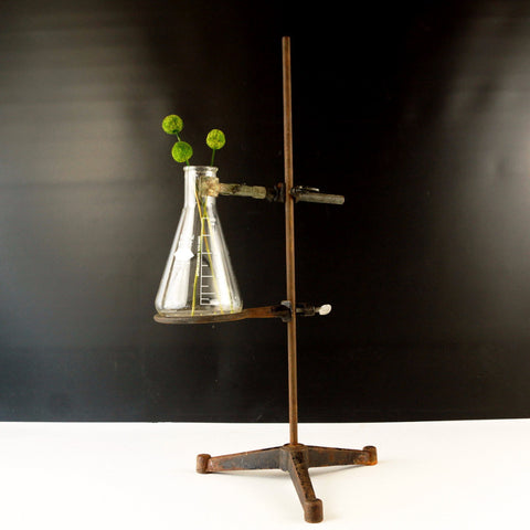 Vintage Industrial Cast Iron Lab Stand with Tripod Base, Clamps, Flask (c.1970s)