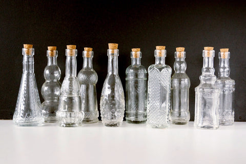 "Decorative Clear Glass Bottles with Corks, 5"" tall (Set of 10) - ThirdShiftVintage.com"