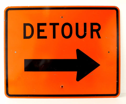 "Vintage Metal ""Detour"" Sign in Orange and Black (c.1970s)"