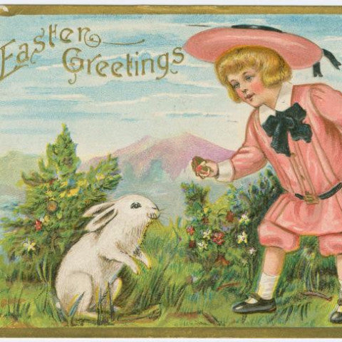 "Digital Download ""Easter Greetings"" Easter Postcard (c.1909) - Instant Download Printable - ThirdShiftVintage.com"