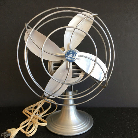 Vintage Aluminum Chrom-Ever Open Cage Desk Fan (c.1950s) - ThirdShift Vintage