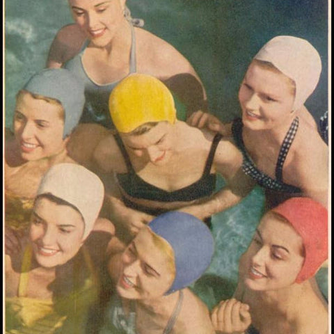 "Digital Download ""Swimming Caps"" Ad (c.1949) - Instant Download Printable - ThirdShiftVintage.com"