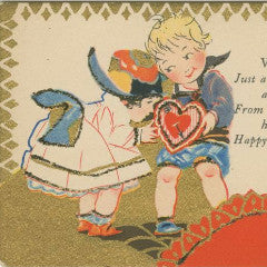 "Digital Download ""Happy Thoughts of You"" Valentine's Day Postcard (c.1910) - Instant Download Printable - ThirdShiftVintage.com"