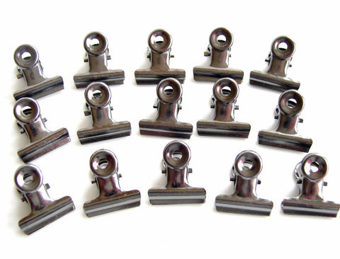 Small Metal Hinge Clips in Antique Nickel Finish (Set of 15) - ThirdShiftVintage.com