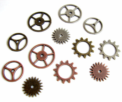 Metal Gears and Sprockets in Silver, Brass, and Copper (Set of 12) - ThirdShiftVintage.com