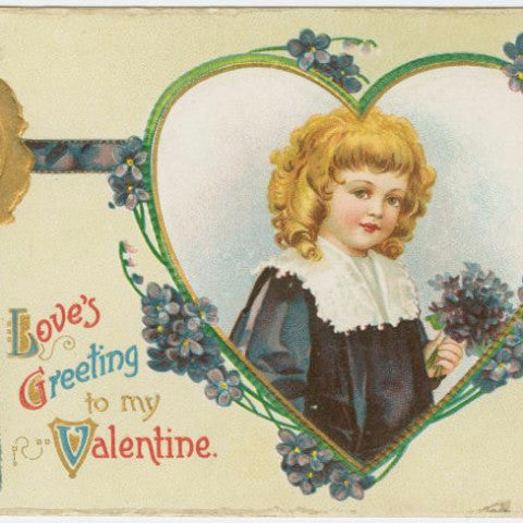 "Digital Download ""Love's Greeting To My Valentine"" Valentine's Day Postcard (c.1905) - Instant Download Printable - thirdshift"