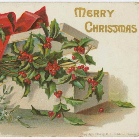 "Digital Download ""Merry Christmas"" Christmas Postcard (c.1906) - Instant Download Printable - ThirdShiftVintage.com"