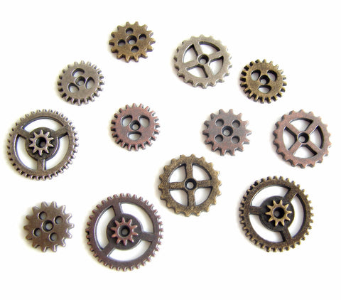 Metal Mini Gears in Silver, Brass, and Copper (Set of 12) - ThirdShiftVintage.com