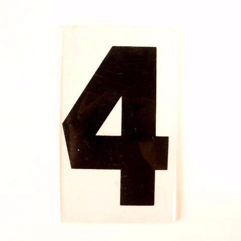 "Vintage Industrial Marquee Number ""4"" Sign, Black on Clear Thick Acrylic, 7"" (c.1970s) - ThirdShift Vintage"