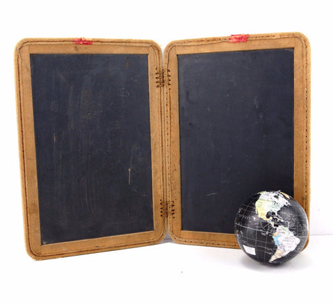 "Vintage Real Slate Chalkboard Set / 2 Blackboards, Double-sided, 9 x 12-3/4"" each (c.1900s)"
