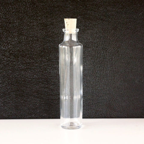 "Tall Clear Glass Cylinder Bottle / Vial with Cork (6.73"" tall x 1.46"" diameter) 4 ounce capacity - ThirdShiftVintage.com"