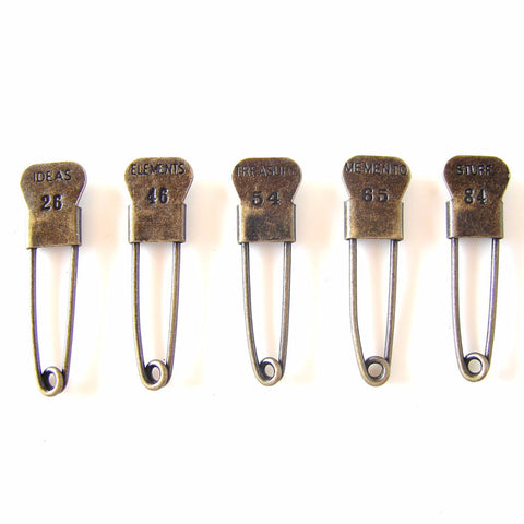 Metal Laundry Pin Style Trinket Pins in Antique Brass Finish (Set of 5) - ThirdShiftVintage.com