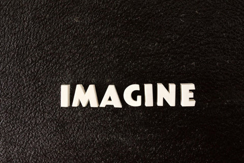 "Vintage White Ceramic Push Pins ""IMAGINE"" (c.1940s) - ThirdShift Vintage"