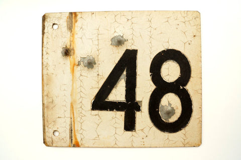 "Vintage Metal ""48"" Train Track Number Sign, Double-Sided (c.1930s) - ThirdShift Vintage"