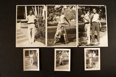 Vintage Photograph Collection of Three Young Men, Set of 6 (c.1920s) - thirdshift