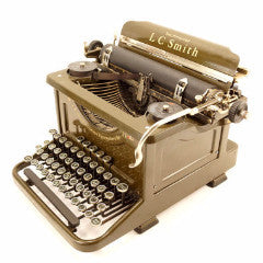 Vintage LC Smith Secretarial 8-11 Typewriter in Walnut Green (c.1934) - ThirdShift Vintage