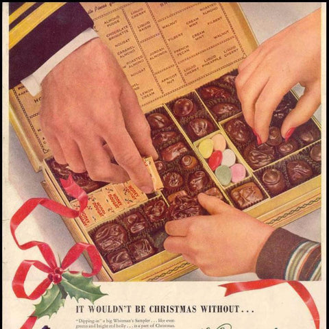 "Digital Download ""Whitman's Chocolates Christmas Ad"" (c.1943) - Instant Download Printable - thirdshift"