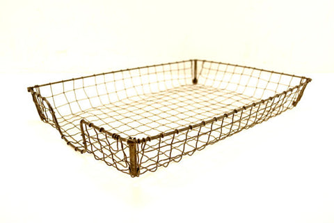 Vintage Wire Desk Tray Storage Basket, Inbox / Outbox (c.1940s) - ACME Wire Letter Tray - thirdshift