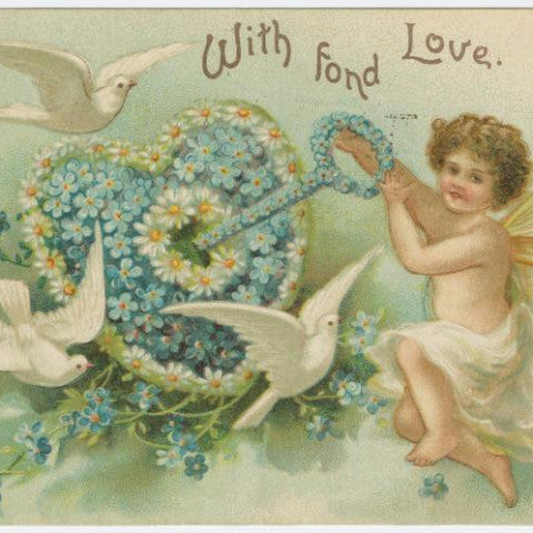 "Digital Download ""With Fond Love"" Valentine's Day Postcard (c.1905) - Instant Download Printable"