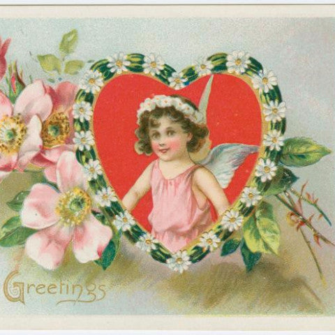 "Digital Download ""With Loving Greetings"" Valentine's Day Postcard (c.1910) - Instant Download Printable"