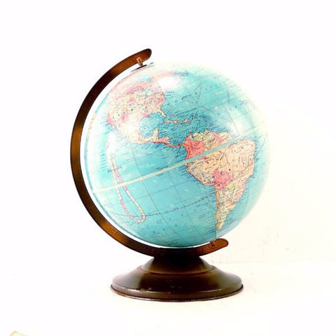 "Vintage Replogle Standard World Globe with Metal Stand, 12"" diameter (c.1949) - thirdshift"