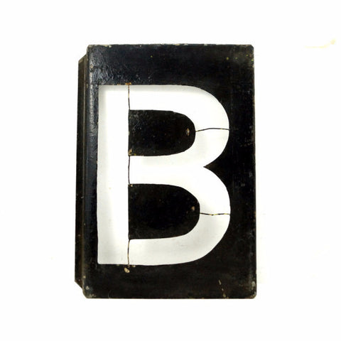 "Vintage Metal Letter ""B"" Moonglo Marquee Sign, 13"" tall (c.1900s) - ThirdShift Vintage"